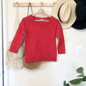 Gap red 3/4 sleeve crew neck sweater size small